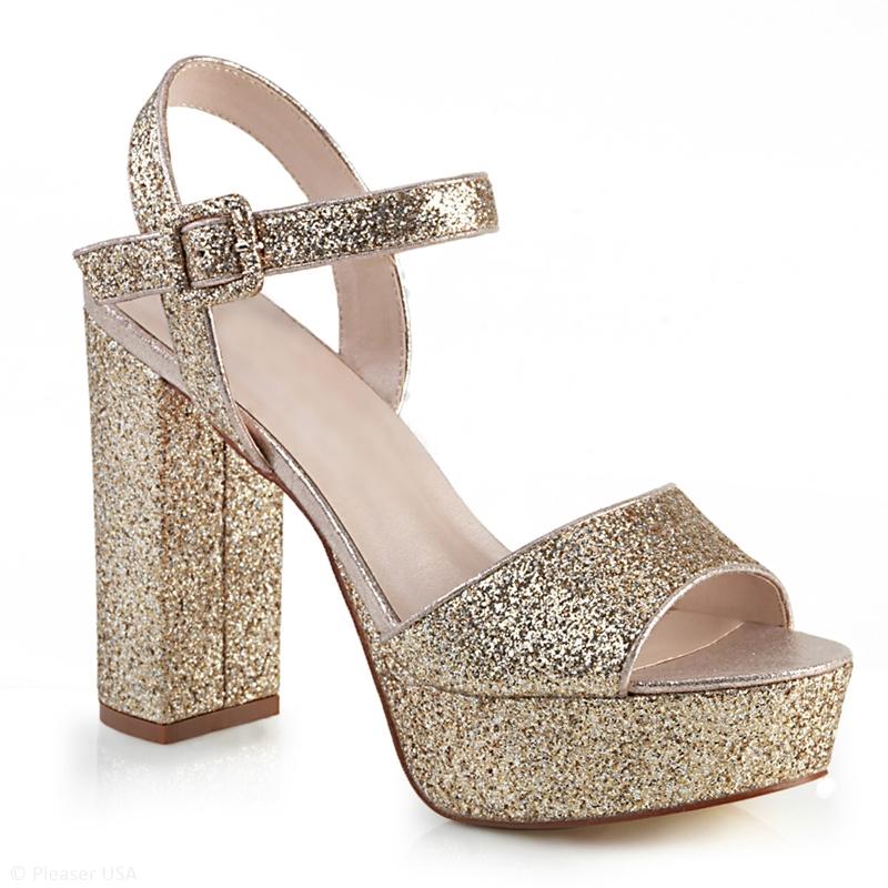 Gouden glitter sandalen met bandje | Gouden glitter blokhakken