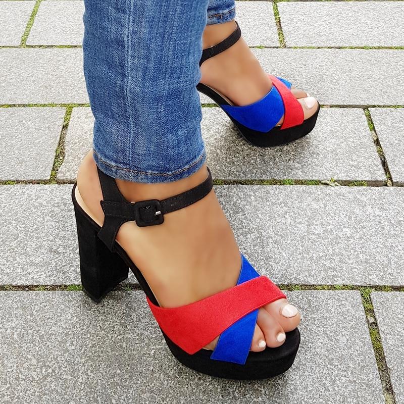 Sandalen met hak zwart | rood | blauw met dikke hak | Blokhak sandalen
