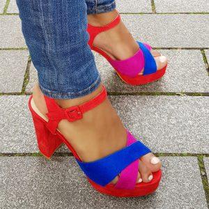 Sandalen met hak rood | fuchsia | blauw met dikke hak | Blokhak sandalen