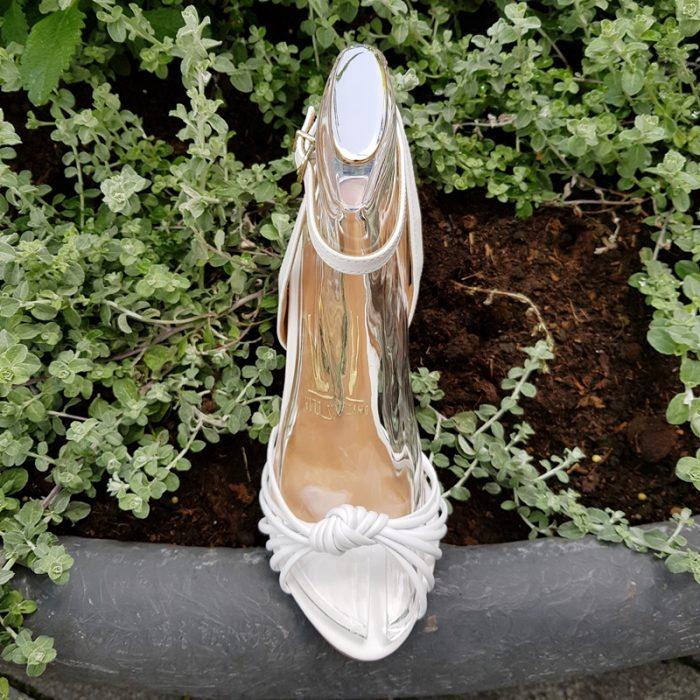 Witte sandalen met smalle bandjes | Witte sandalen met hak 10cm