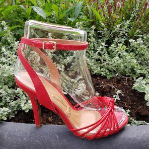 Rode sandalen met smalle bandjes | Rode sandalen met hak 10cm