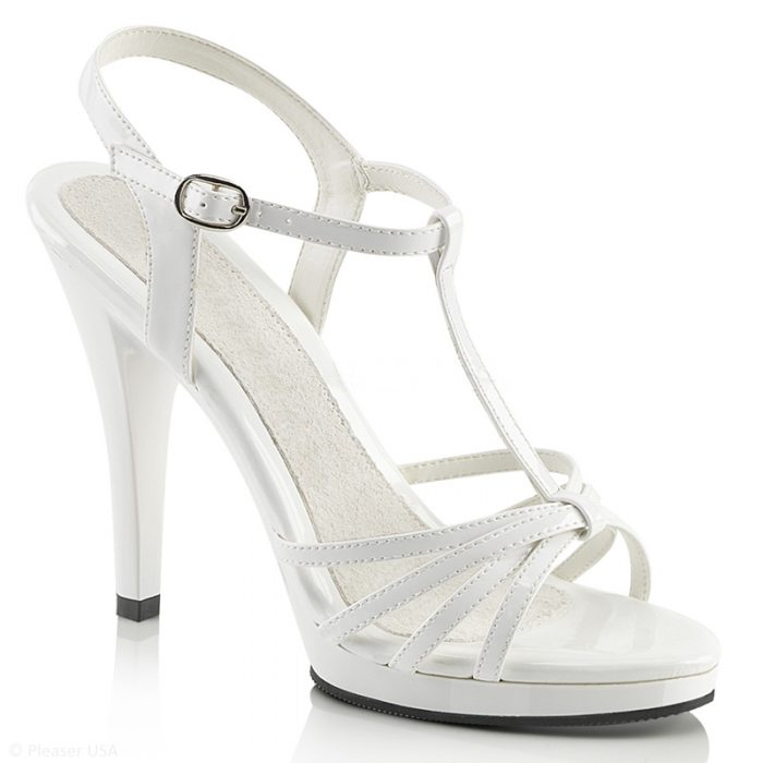 Witte Mary Jane sandaaltjes   Witte naaldhakken met bandjes grote maten