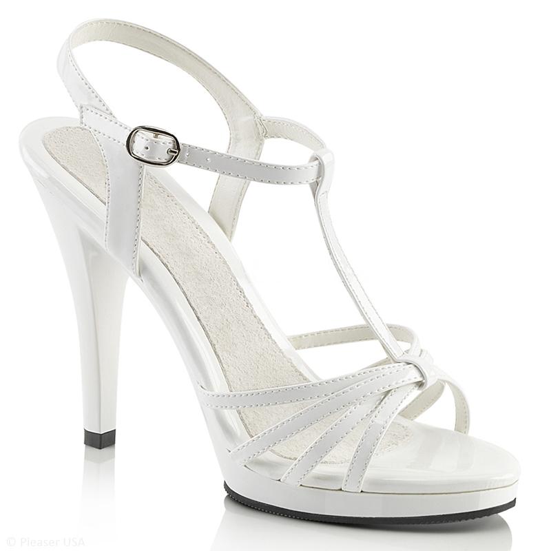 Witte Mary Jane sandaaltjes | Witte naaldhakken met bandjes grote maten