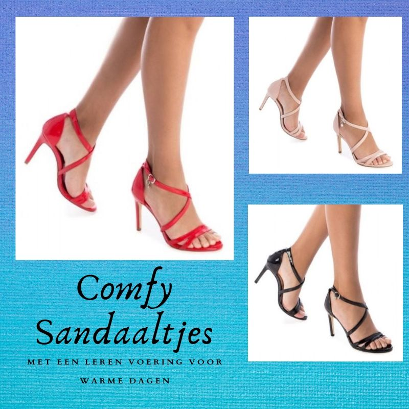 sandaaltjes met gekruiste bandjes en leren binnenvoering