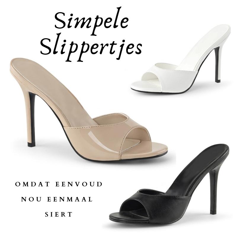 Simpele slippers met naaldhakken in grote maten