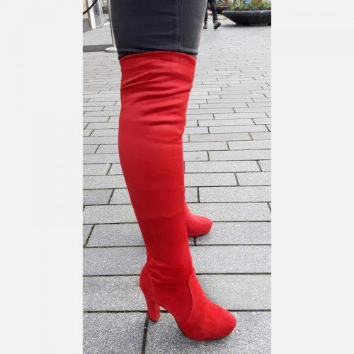 Rode overknee laarzen met blokhak | Rode overkneelaarzen dikke kuiten | Rode over de knielaarzen voor dunne benen.