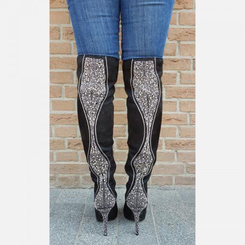 Zwarte overkneelaarzen met stiletto hakken | Overkneelaarzen met strass
