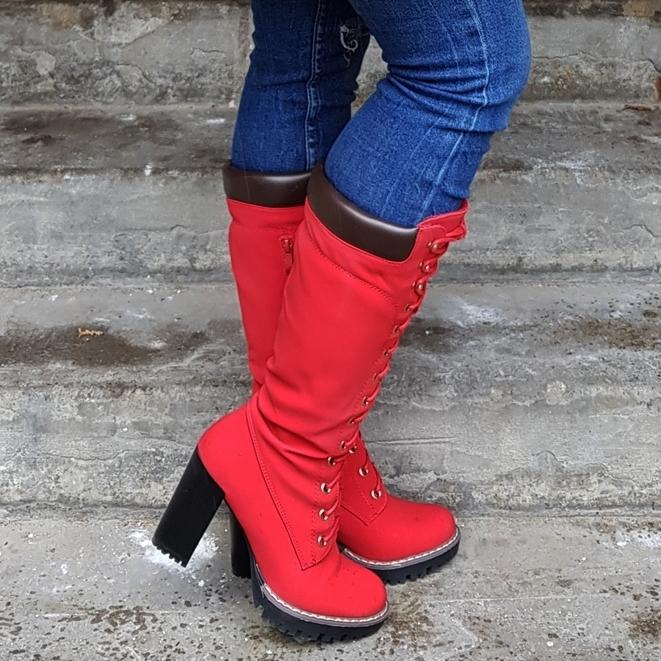 Rode Timberland boots met hak | Nep Timberland dames laarzen