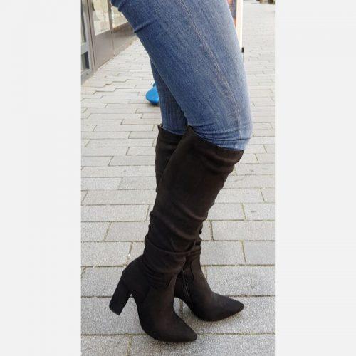 Zwarte knie laarzen met blokhak | Laarzen tot de knie met brede hak