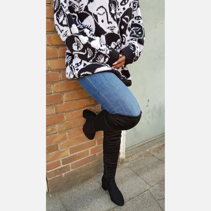 Zwarte overknee laarzen maat 32 33 34 voor smalle kuiten - Hoe draag je overknees als je klein bent
