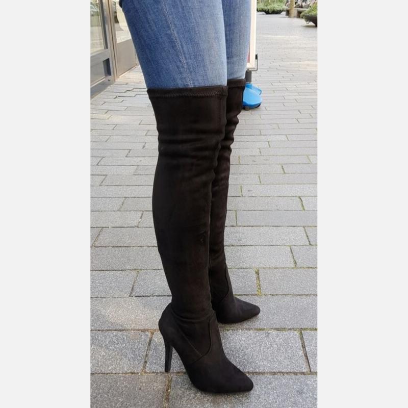 Zwarte stretch overknee laarzen met hak | Suède laarzen in