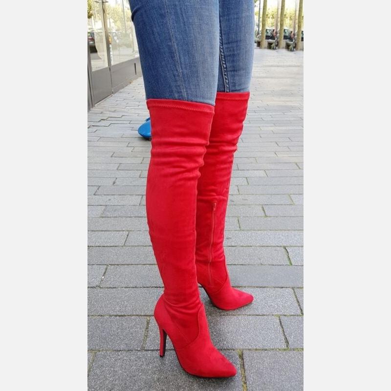 Rode stretch overknee laarzen met hak | Suède laarzen in rood met hak