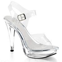 Pexy sandalen met plateau   Doorzichtige open schoenen met hoge hakken   Poseerschoenen met platform   Doorzichtige hoge hakken voor brede voeten.