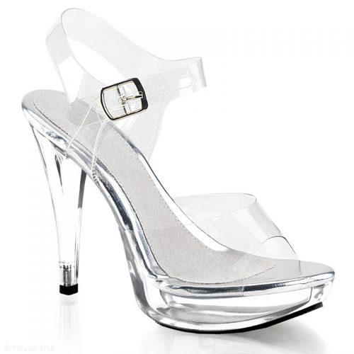 Pexy sandalen met plateau | Doorzichtige open schoenen met hoge hakken | Poseerschoenen met platform | Doorzichtige hoge hakken voor brede voeten.