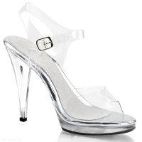 Pexy sandalen met plateau   Doorzichtige open schoenen met hoge hakken   Poseerschoenen met platform.
