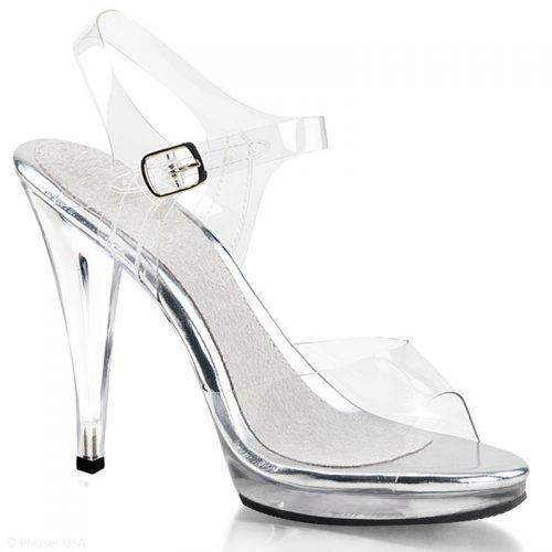 Pexy sandalen met plateau | Doorzichtige open schoenen met hoge hakken | Poseerschoenen met platform.