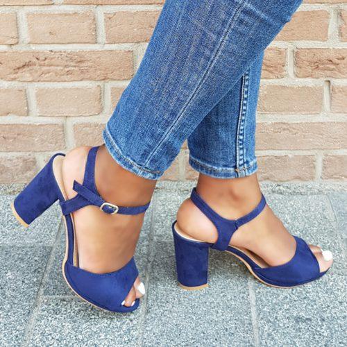 Donkerblauwe sandalen met blokhak van 8 cm | Blauwe sandaaltjes hak
