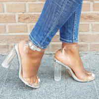 Doorzichtige sandalen met blokhakken   Hoge hakken doorzichtig plastic