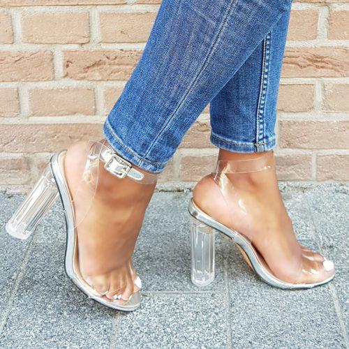 Doorzichtige sandalen met blokhakken | Hoge hakken doorzichtig plastic