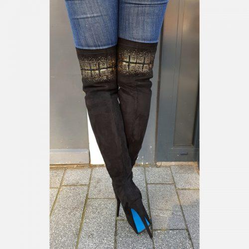 Overknee laarzen zwart met goud, naaldhak en plateauzool | Silhouette