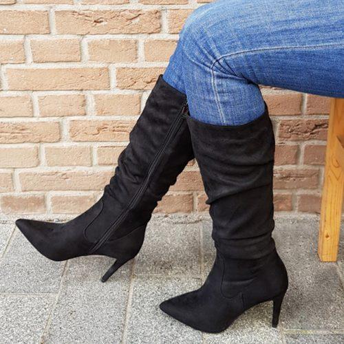 Zwarte knielaarzen met naaldhak | Zwarte hoge laarzen geplooide schacht