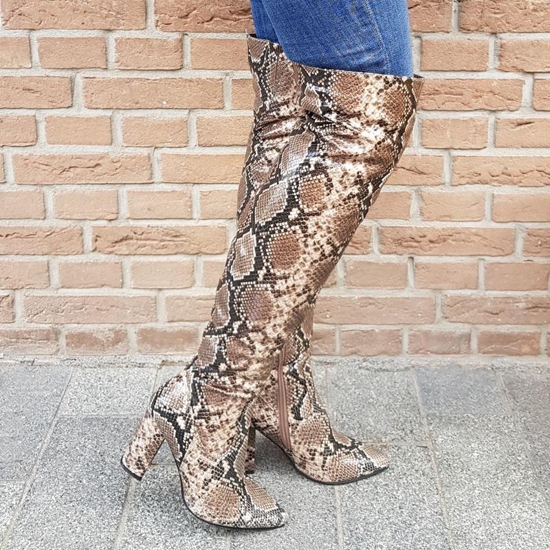 Slangen print laarzen met blokhak | Slangenprint overknee