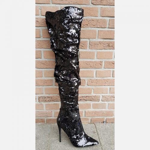 Glitterlaarzen met pailletten en hoge naaldhakken | Drag boots hoge hak