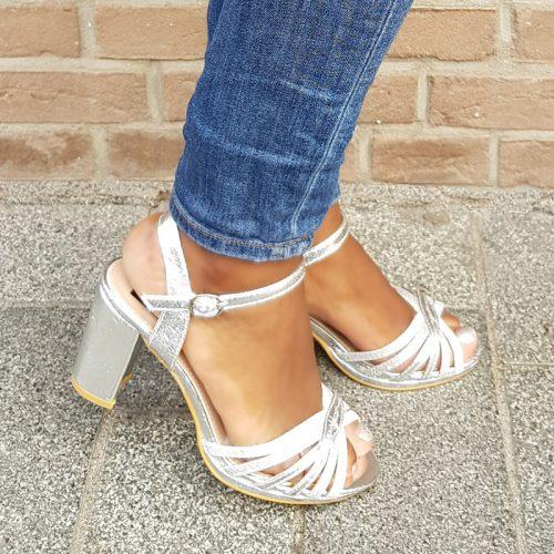 Zilveren sandalen met blokhak | Gala | Examen feest | Prom Night