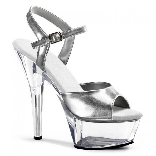 Zilveren danshakken met doorzichtige zool en hak | Pleasers zilver metallic
