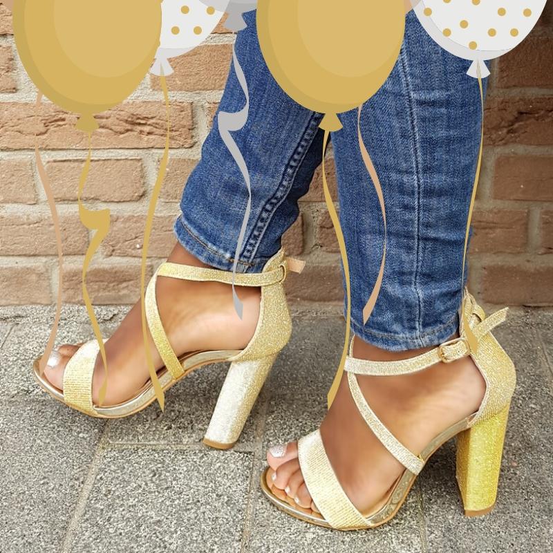 Gouden Glitterhakken