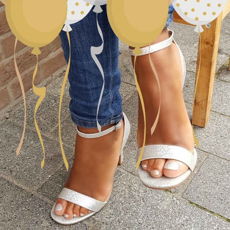Zilveren glitter strappy sandals