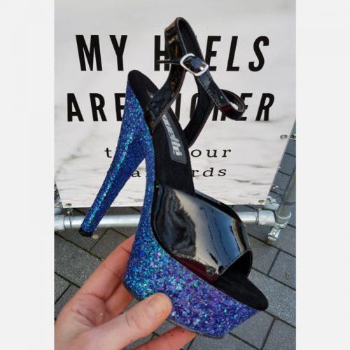Blauwe glitterhakken voor paaldansen | Zwarte danshakken met blauwe glitters | Danshakken met glitterzool blauw