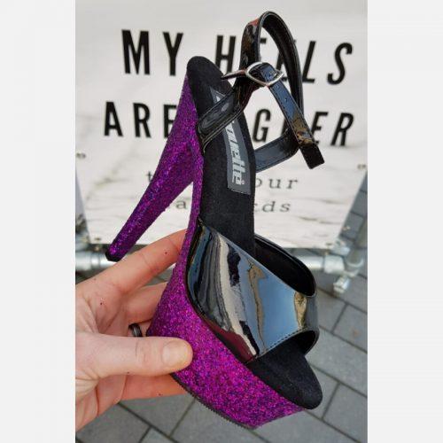 Paarse glitterhakken voor paaldansen | Zwarte danshakken met paarse glitters | Danshakken met glitterzool paars