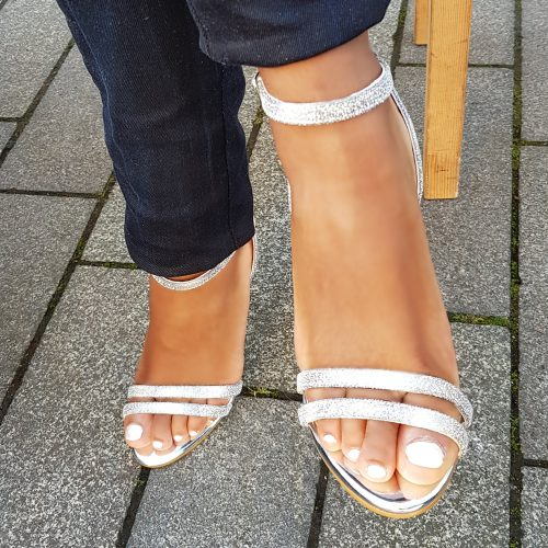 Glittersandaaltjes met hoge hak | Sandaaltjes zilver met paars met hak | Glitter hakken zilver met paars