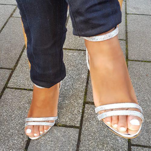 Glittersandaaltjes met hoge hak | Sandaaltjes zilver met blauw met hak | Glitter hakken zilver met blauw