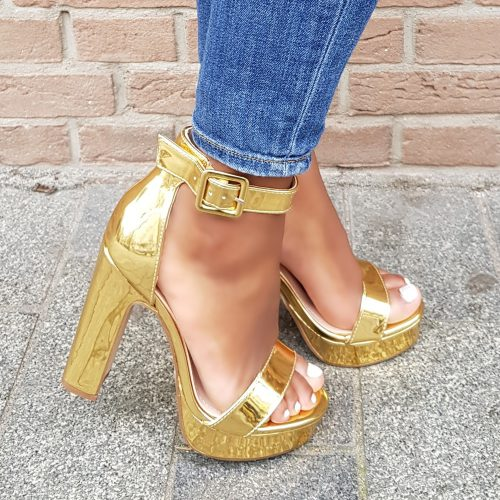 Gouden sandalen met blokhak | Gouden open sandalen met dikke zool en dikke hak