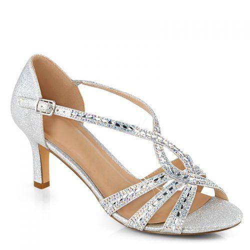 Zilveren feest schoenen lage hak | Zilveren feestelijke schoentjes met steentjes en dichte hiel