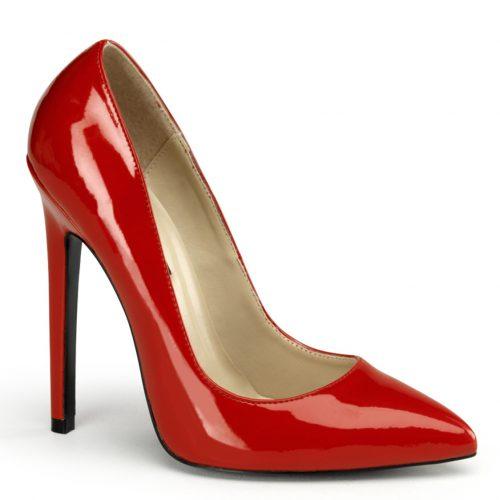 Rode lak pumps met hoge rechte hakken | Extreem hoge hakken rood