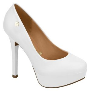 Witte pump met zacht voetbed, ronde neus, plateau en stiletto hak | Witte comfortabele pump met hoge hak en ronde neus