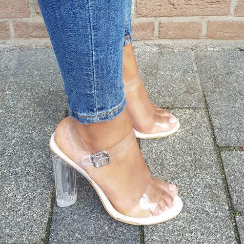 Clear heels of perspex heels in wit met bandjes | Doorzichtige sandalen met blokhakken
