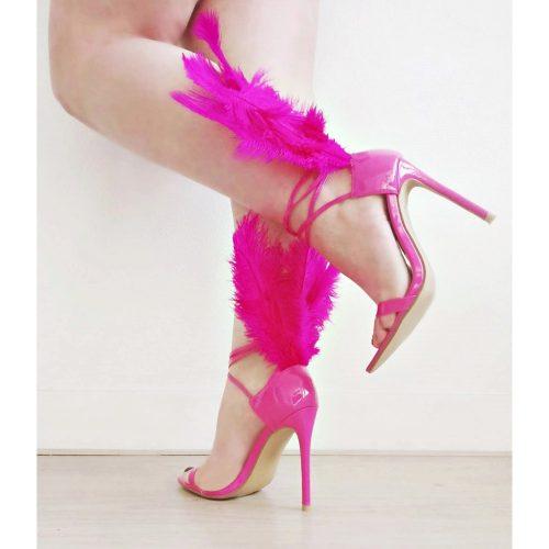 Fuchsia sandaaltjes met hoge hakken en veren | Sexy sandaaltjes in roze met hoge hakken en grote veren