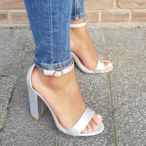 Sandalen met blokhak zilver metallic | Zilveren metallic hakken