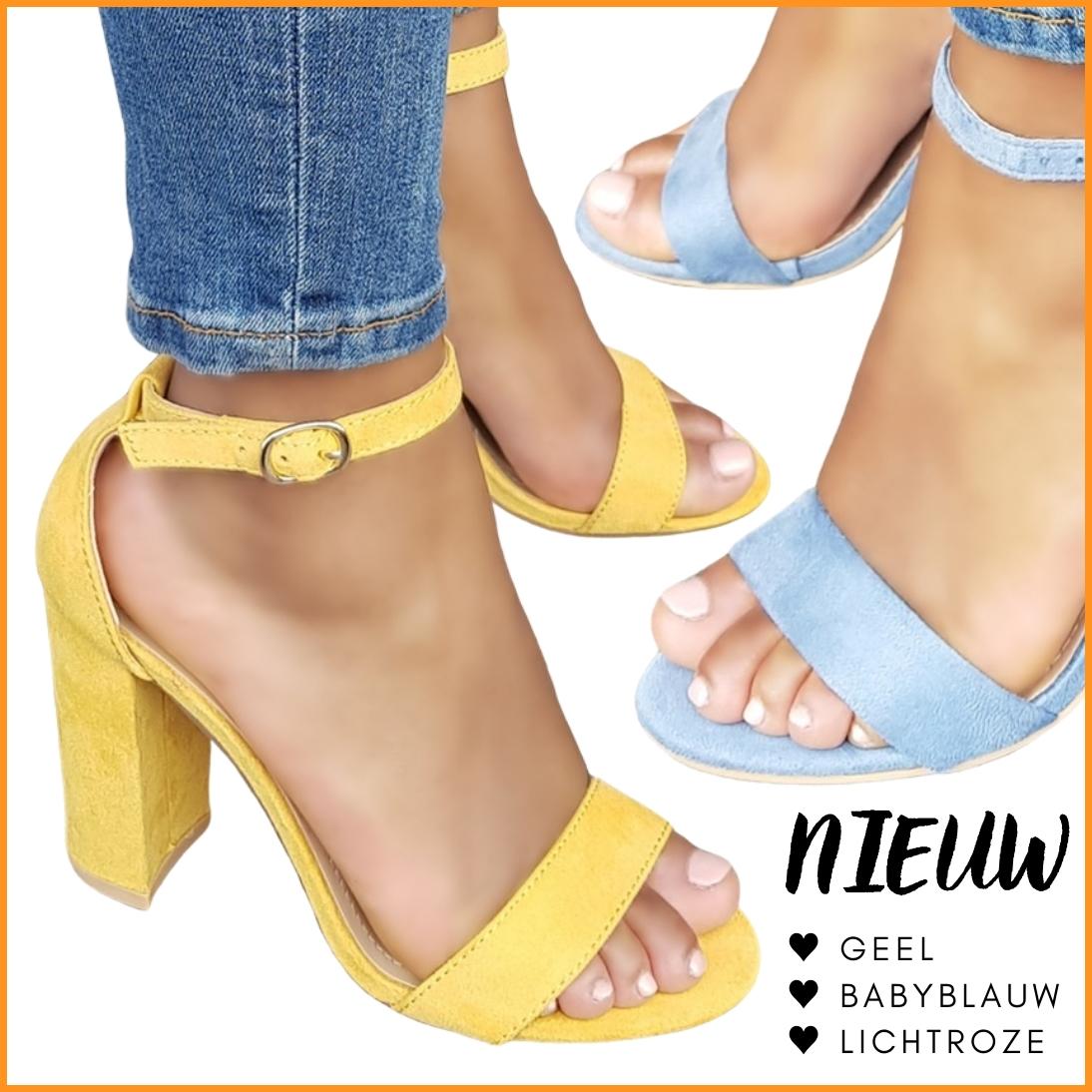 Sandaaltjes met blokhak in voorjaarskleuren