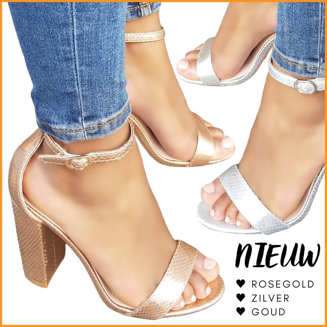 Metallic sandaaltjes met stevige hak