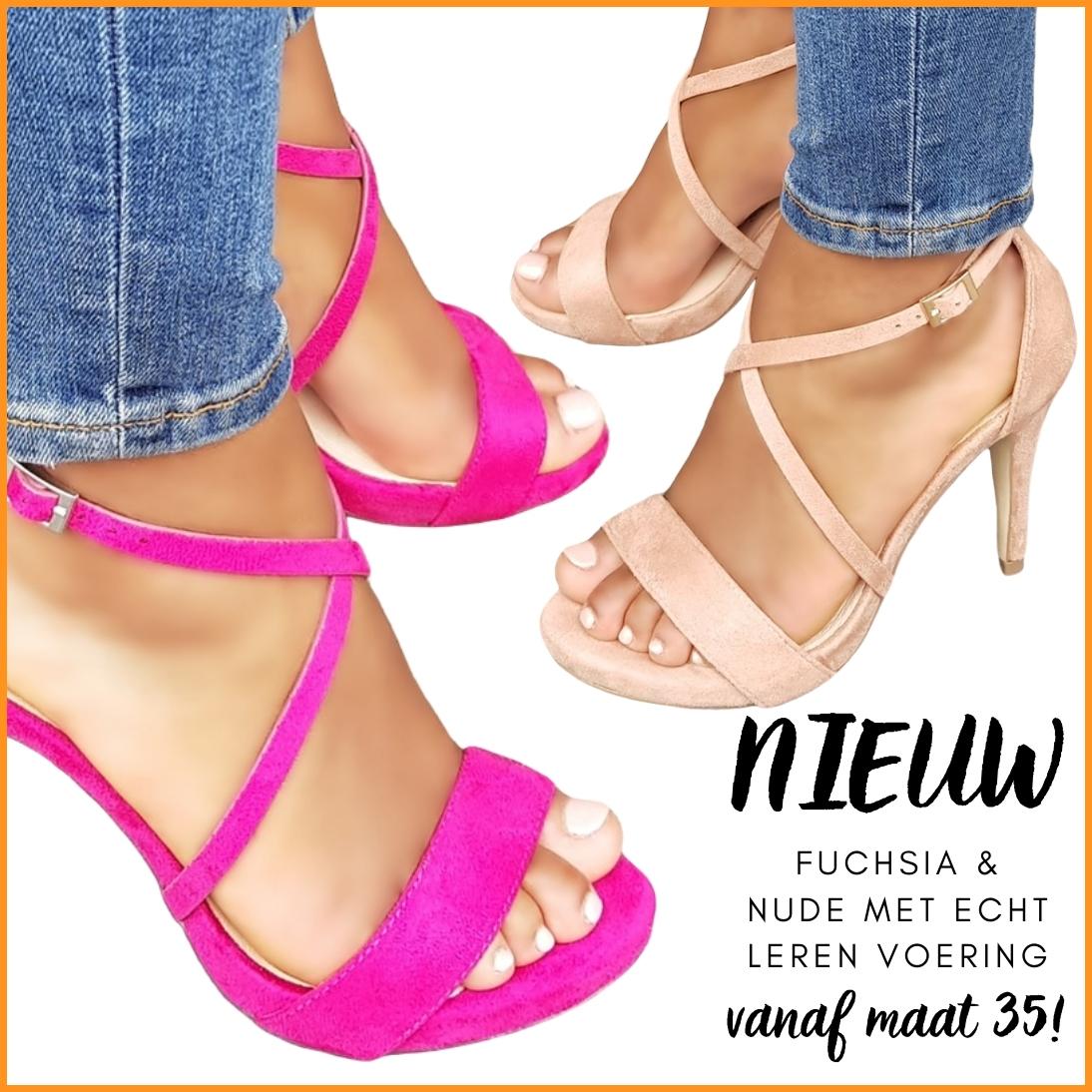 Roze en nude sandaaltjes met leren voering