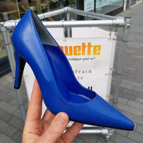 Goedkope kobalt blauwe pumps maat 34 35 | Kobalt blauwe pumps met hoge hak in kleine maten