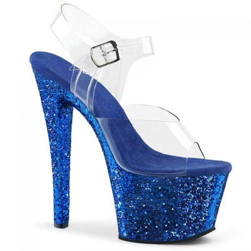 Blauwe glitterhakken met doorzichtige bovenkant | Doorzichtige danshakken met blauwe zool en hak | Blauwe glitter Pleaser hakken