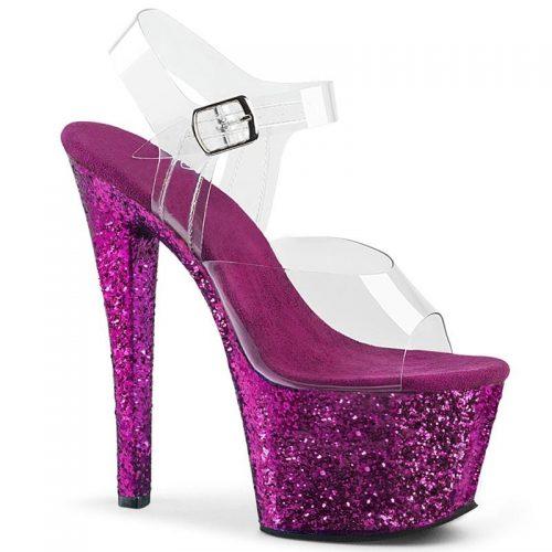 Paarse glitterhakken met doorzichtige bovenkant | Doorzichtige danshakken met paarse zool en hak | Paarse glitter Pleaser hakken