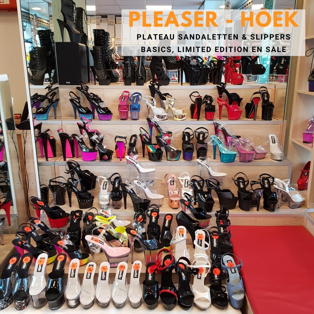 Pleaser sandalen en slippers nieuwe collectie en uitverkoop