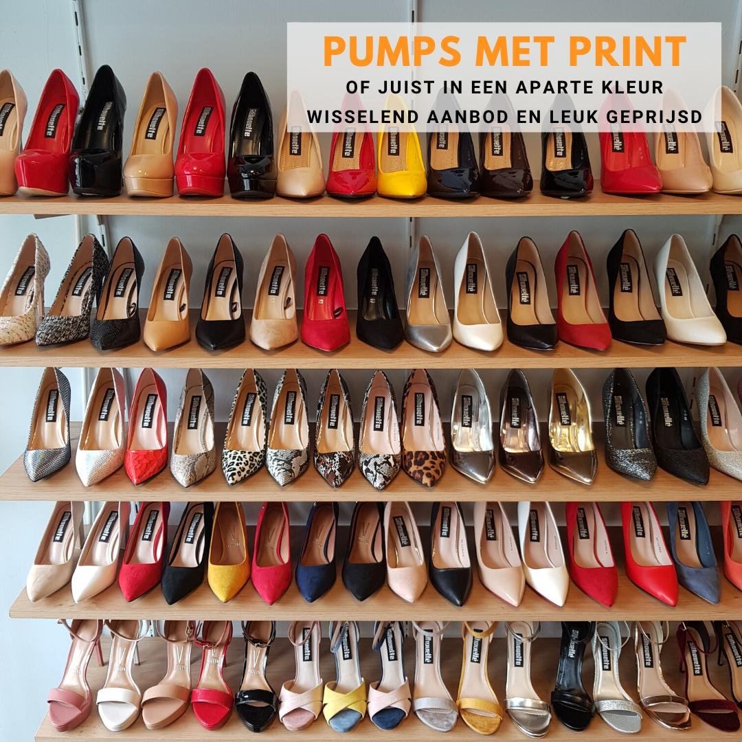 Goedkope pumps in prints en kleuren met hoge hak